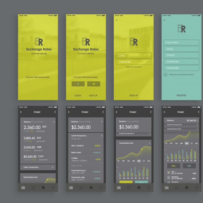 BAM by Design Mobile Exchange Rate Application UX UI